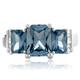 3 Emerald Cut Aquamarine Silver Ring