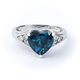 Beautiful Heart Shape Alexandrite and Cubic Zirconia Ring