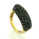 14K Yellow Gold Blue Diamonds Ring