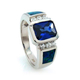 Emerald Cut Tanzanite and Opal Ring in Sterling Silver