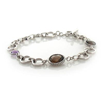Genuine Amethyst and Smoked Quartz Silver Bracelet