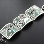 Handmade Jungle Animals Silver Unique Bracelet