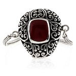 Antique Red Coral Sterling Silver Bracelet