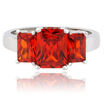 3 Stone Fire Opal Sterling Silver Ring