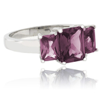 3 Emerald Cut Color Change Alexandrite .925 Silver Ring ( Blue/Purple )