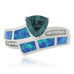 Color Changing Alexandrite Australian Opal Silver Ring