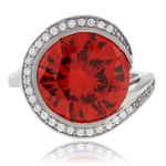 Huge Round Cut Fire Cherry Opal .925 Sterling Silver Ring