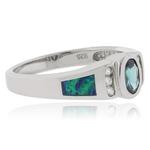 Oval Cut Alexandrite Opal Silver Ring