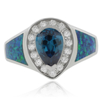 Pear Cut Alexandrite Opal Silver Ring