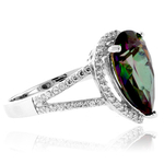 Pear Cut Mystic Topaz Silver Ring