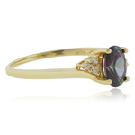Solitaire Oval Cut Mystic Topaz Sterling Silver Gold Plated Ring