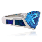 Trillion Cut Blue Topaz Silver Ring with Blue Opal