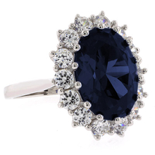 Huge Oval Cut Sapphire Princess Kate Style Silver Ring