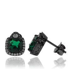 Precious Emerald Earrings with Simulated Diamonds