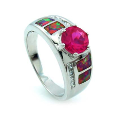 Australian Opal Ring with Pink Round Cut Sapphire