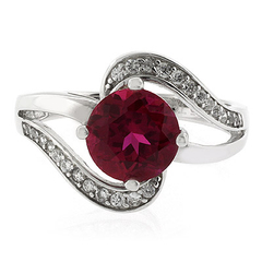 Round Cut Red Ruby Silver Ring