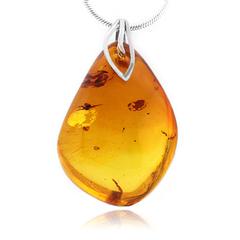 Big Natural Honey Amber Silver Pendant