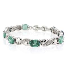 Oval Cut Green to Blue Alexandrite Silver Bracelet