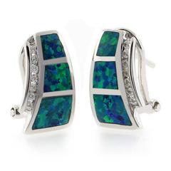 Blue Opal Omega Back Earrings