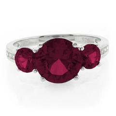 3 Round Cut Ruby Ring