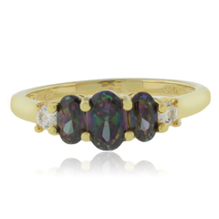 3 Stone Mystic Topaz 14k Gold Plated Ring