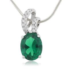 Micro Pave Emerald Charm Pendant