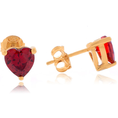 Heart Cut Fire Opal Gold Plated Earrings