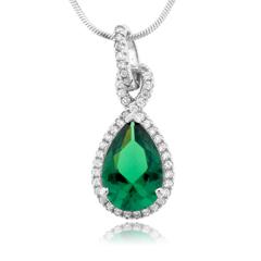 Pear Cut Emerald Gemstone Silver Pendant