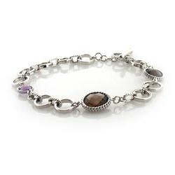 Genuine Amethyst and Smoked Quartz Silver Bracelet
