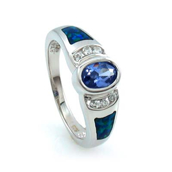 Opal with Oval Cut Tanzanite Silver Ring