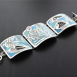 Handmade Sea Animals Silver Unique Bracelet