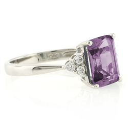 Emerald Cut Alexandrite Silver Ring