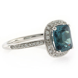 Alexandrite Stone MicroPave Silver Ring