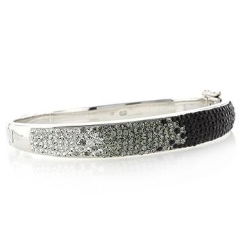 Black and White Swarovski Crystals Silver Bracelet