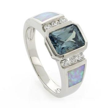 Opal Emerald Cut Alexandrite Silver Ring