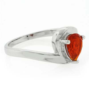 High Quality Genuine Pear Cut Fire Opal Silver Ring