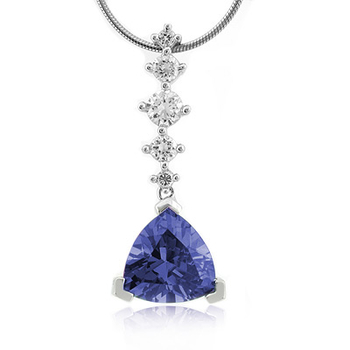 Tanzanite Trillion Cut Silver Pendant