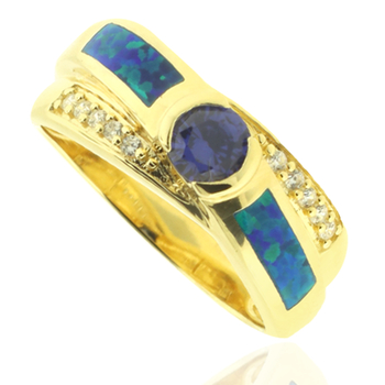 Gold Plated Ring with Tanzanite Gemstone in Round Cut and Australian Opal