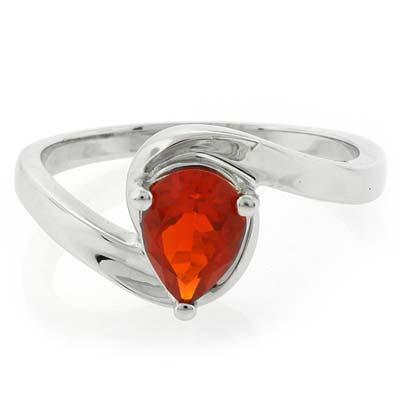 High Quality Genuine Pear Cut Fire Opal Silver Ring