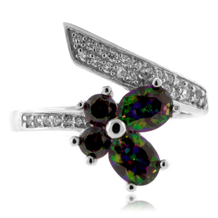 Butterfly Cut Mystic Topaz Sterling Silver Ring