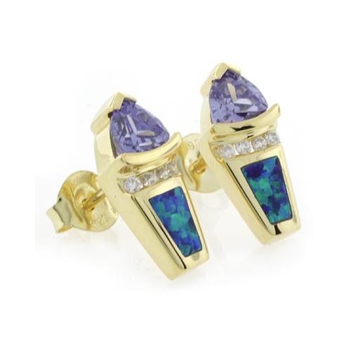 Australian Opal Tanzanite Gold Plated Earrings