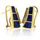 Omega Back 14K Gold Genuine Opal Diamond Earrings